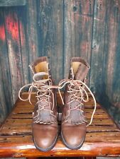 Ladies Justin Brown Distressed Roper Lace UP Boots Sz:5 C