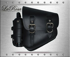 La Rosa Harley Softail Black Leather Left Swing Arm Saddle Bag + Fuel Gas Bottle