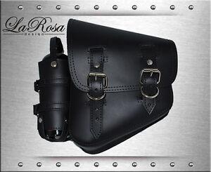 La Rosa Harley Softail Black Leather Left Swing Arm Saddle Bag + Fuel Gas Bottle