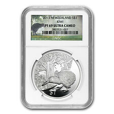 2013 1 oz Silver New Zealand Treasures $1 Kiwi Coin - PF-69 NGC - SKU #80761
