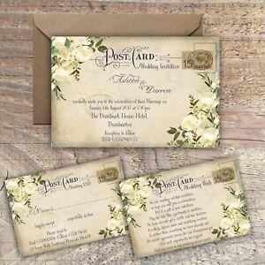 PERSONALISED VINTAGE POSTCARD IVORY&GREEN FLORAL WEDDING INVITATIONS PACKS OF 10