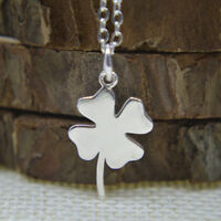 """Shiny Solid 925 Sterling Silver Small 4 Leaf Clover 17.7"""" Chain Necklace Gift"""