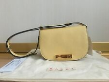 Women S Leather Shoulder Bag Marni Pastel Yellow