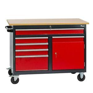 Werkbank Werktisch Arbeitstisch mobil mit 5 Schubladen 1 Staufach fahrbar