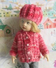 Hand Knit Cardigan Sweater & Hat Set for 8 inch Kish Riley Doll * Red Shades