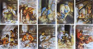 POULET Raymond : Les métiers anciens (7) - 10 LITHOGRAPHIES signées #450ex