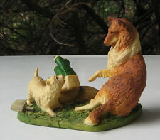 VINTAGE WEST HIGHLAND WHITE TERRIER AND COLLIE FARM SCENE