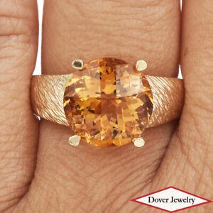Estate 6.50ct Citrine 14K Gold Elegant Textured Large Solitaire Ring NR