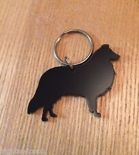 Rough Collie Dog Keyring Bag Charm Keychain Lanyard Gift In Black
