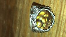 Arizona Fire Agate  Gemstone Sterling Silver Ring Size 9 made in USA