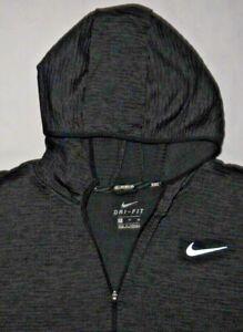 Mens Gray NIKE RUNNING Dri Fit L/S Hooded Running Jacket size XL