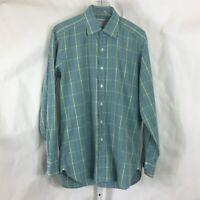 Turnbull & Asser Mens Luxury Dress Shirt Made in England Green/Blue Plaid Sz 16