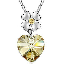 Fashion Womens Heart Yellow Crystal Rhinestone Silver Chain Pendant Necklace