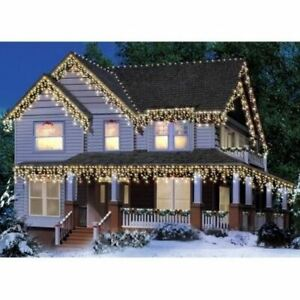 Holiday Time 300 CLEAR Icicle Lights GREEN WIRE Christmas Wedding Curtain Decora