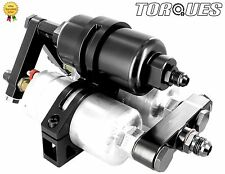 Twin Bosch 044 Fuel Pumps+Billet High Flow Filter Manifold Cradle Assembly Black