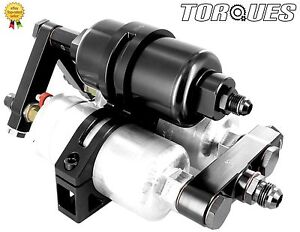 Twin Bosch 044 Fuel Pumps+Billet High Flow Filter Manifold Cradle Assembly Black