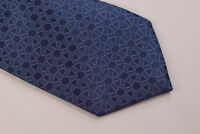 Charvet NWOT Neck Tie In Blue Circles Geometric Made in France Silk Luxury $250