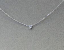 Diamond Solitaire Bezel Set Necklace 14k White Gold 0.20ct SI1 G-H color