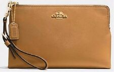 NWT Coach Madison Leather Large Pouch Wristlet Light Gold Brindle F52106