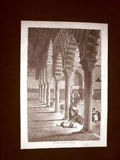 Incisione di Gustave Dorè del 1874 Gran patio dell'Alcazar di Siviglia Spagna