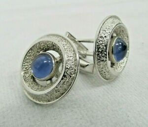 Beautiful Blue Sapphire Stone / Sterling Silver (Stamped) Cufflinks
