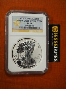 2013 W REVERSE PROOF SILVER EAGLE NGC PF70 FROM WEST POINT SET GOLD STAR LABEL