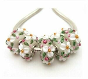 White Floral Lampwork Glass S925 Sterling Silver European Bead Charm - Set of 5