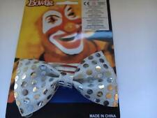 ** SILVER SEQUIN BOW TIE CLOWN ADULT FANCY DRESS NEW *  MENS LADIES