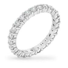 1.5 TCW CZ 2 mm Round Cut 925 Stackable Eternity Wedding Bridal Band Ring Size 8