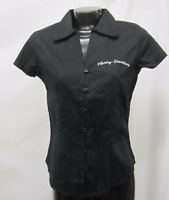 Harley Davidson Women's Black Short Sleeve Button Front Shirt Size Small, NWT