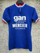 Maillot cycliste GAN MERCIER HUTCHISON vintage shirt trikot jersey maglia bleu S