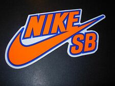 "NIKE 6.0 SB Skate Sticker Swoosh Orange Blue 6"" skateboard helmet decal"