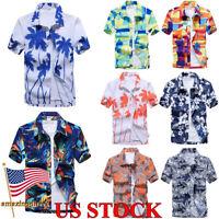 Mens Short Sleeve Shirt T-shirt Holiday Summer Hawaiian Casual Tops Blouse Tee