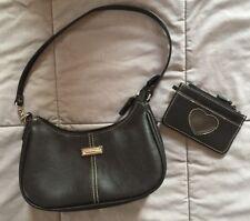Girls Accessories BLACK Purse ZIPPERED Handbag COIN PURSE Strap WHITE STITCHING