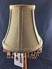 Set of 2 Light Brown Fabric Chandelier Lamp Shades New Beaded 3x6x5.25 (A18)