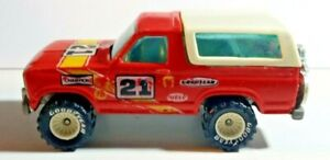 VTG 1980 HOT WHEELS DIECAST #21 Red / White Ford Bronco 4x4 Truck REAL RIDERS