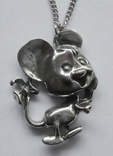 Chain Necklace #1559 Pewter COMICAL MOUSE (34mm x 25mm) PENDANT