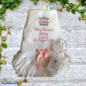 Personalised Baby Blanket  shawl christenings etc  CAROUSEL DESIGN Any colour