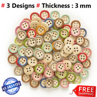 Buttons Round Sewing Mixed Holes Color 4 Scrapbooking Wooden Diy Woode Pcs 50pcs