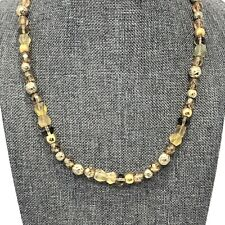 Glass and Frosted Bead Gold Tone Necklace Toggle Clasp
