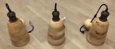 Designer Wood Pendant Hanging Ceiling Luxury Kitchen Lights - Set Of 3 *Rare*