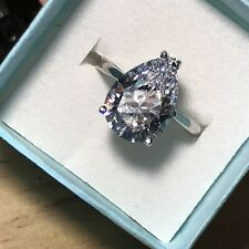 Sterling Silver Engagement Ring New gift Womens 3ct Pear Cut Simulated Diamond