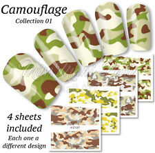 4x Full Cover Nail Art Water Stickers Wraps Transfers Camouflage Camo Army Z124
