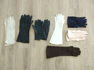 Vintage Womens Gloves Lot Of 7 Leather and Cloth Short And Long Gloves
