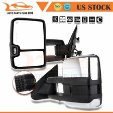 For 14-18 Silverado GMC Sierra Pair Power Signal Heated Chrome Tow Mirrors