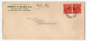 Australia NSW Sydney 1935 George V Head Issue - LATE FEE - Cover to USA 3d + 1d