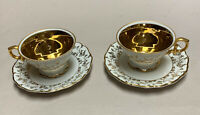 Haus Dresden 2 Demitasse Cups & Saucers, Germany, Gold & White, Vintage