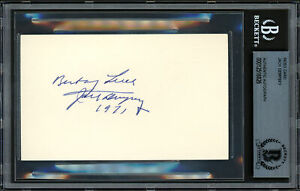 "Jack Dempsey Autographed 3x5 Index Card ""Best of Luck 1971"" Beckett 12516826"