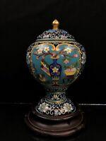 Chinese Antique Cloisonné Vase With Lid Excellent Condition No/R