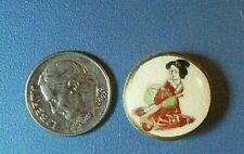 "Vintage 1940s Hand Painted SATSUMA Ceramic Button-Sitting Geisha Gold 3/4"" Inch"